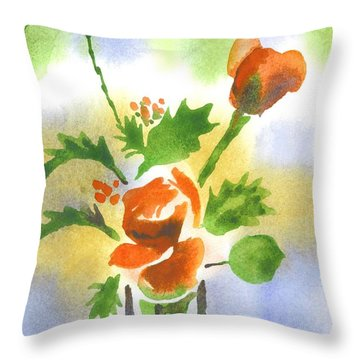 Red Roses With Holly Throw Pillow by Kip DeVore
