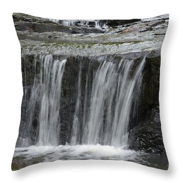 Red Run Waterfall Throw Pillow by Randy Bodkins