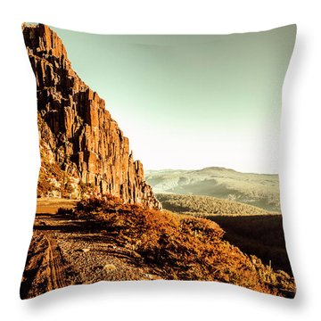 Red Rural Road Throw Pillow