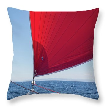 Throw Pillow featuring the photograph Red Sail On A Catamaran by Clare Bambers