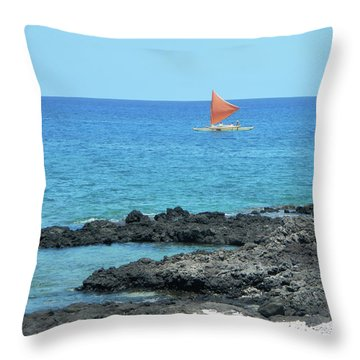Red Sail Throw Pillow