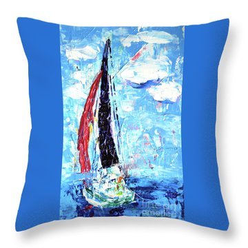 Red Sail Throw Pillow by Lynda Cookson