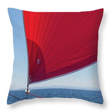 Throw Pillow featuring the photograph Red Sail On A Catamaran 2 by Clare Bambers