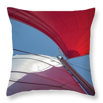 Throw Pillow featuring the photograph Red Sail On A Catamaran 3 by Clare Bambers