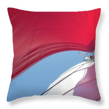 Throw Pillow featuring the photograph Red Sail On A Catamaran 4 by Clare Bambers