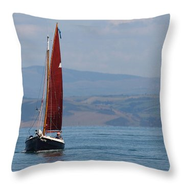 Throw Pillow featuring the photograph Red Sail by Richard Patmore
