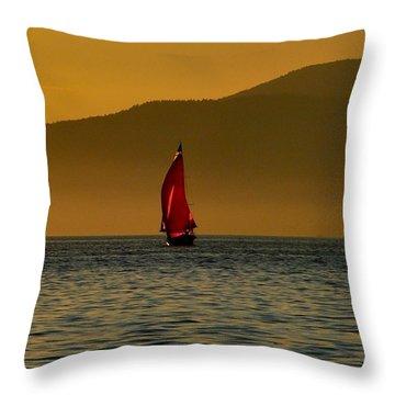 Red Sailboat Throw Pillow