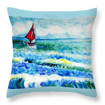 Red Sailboat  Throw Pillow by Hae Kim