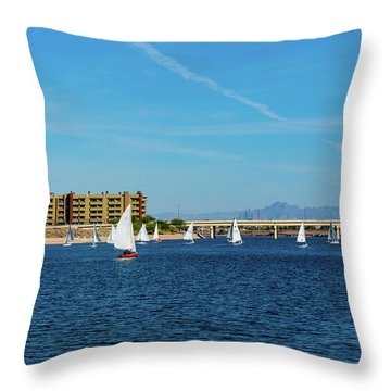 Red Sailboat In The Desert Throw Pillow