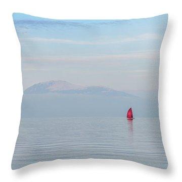 Red Sailboat On Lake Throw Pillow