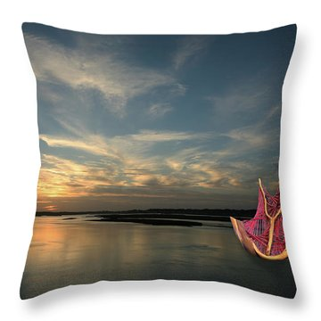 Throw Pillow featuring the photograph Red Sails In The Sunset by Carol Lynn Coronios