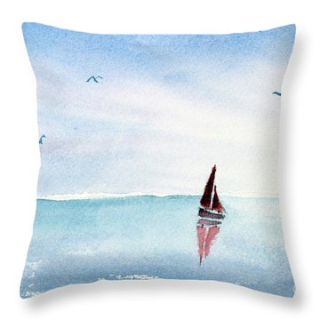 Red Sails On A Blue Sea Throw Pillow