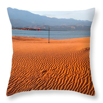 Red Sand Waves Throw Pillow