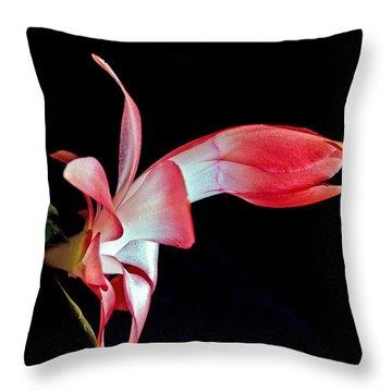 Red Schlumbergera Or Christmas Cactus Throw Pillow