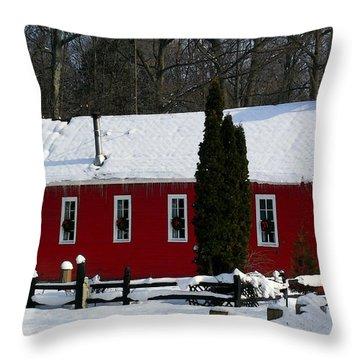 Red Schoolhouse At Christmas Throw Pillow
