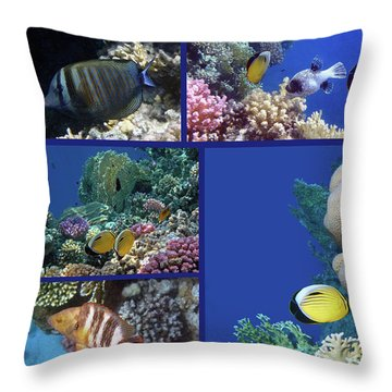 Red Sea Collage Throw Pillow