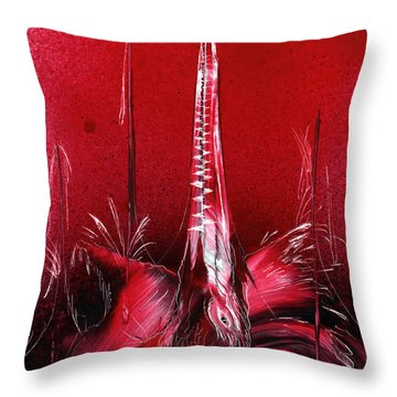 Red Sea Creature Throw Pillow