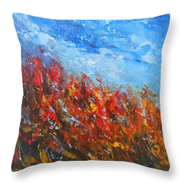 Red Sensation Throw Pillow by Jane See