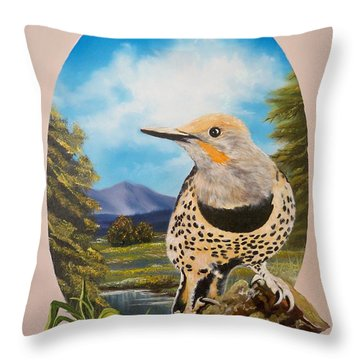 Red Shafted Flicker Throw Pillow