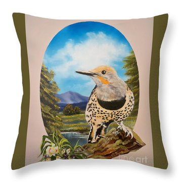 Flying Lamb Productions                       Red Shafted Flicker Throw Pillow