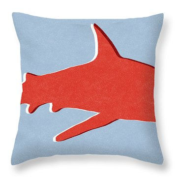 Red Shark Throw Pillow