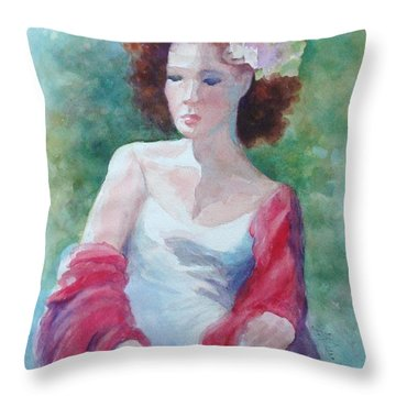 Red Shawl Throw Pillow by Marilyn Jacobson