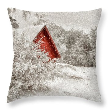 Red Shed In The Snow Throw Pillow