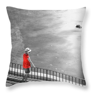 Red Shirt, Black Swanla Seu, Palma De Throw Pillow by John Edwards