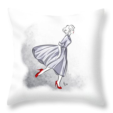 Throw Pillow featuring the digital art Red Shoes Red Lips by Cindy Garber Iverson