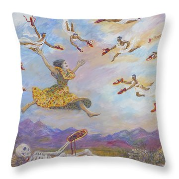 Red Shoes With Messengers Throw Pillow