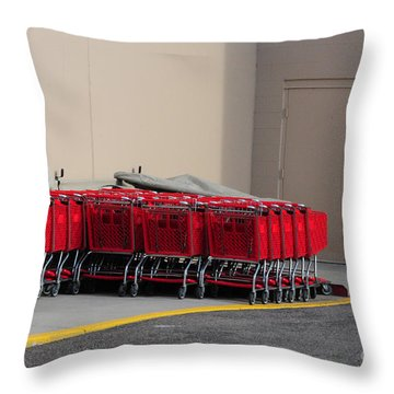 Red Shopping Carts In A Row Throw Pillow by Merrimon Crawford