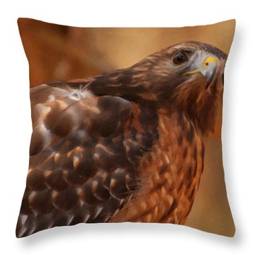 Red Shouldered Hawk 1  Throw Pillow by Chris Flees