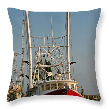 Red Shrimp Boat Throw Pillow by Christopher Holmes