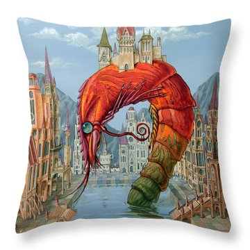 Red Shrimp Throw Pillow