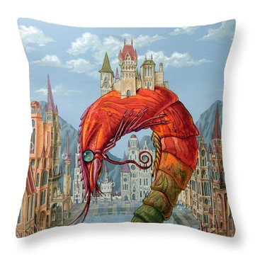 Red Shrimp Throw Pillow