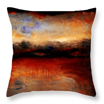 Red Skies At Night Throw Pillow by Michelle Calkins