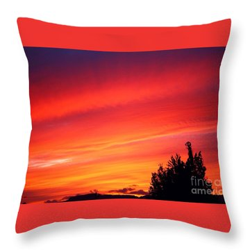Throw Pillow featuring the photograph Red Skies At Night  by Nick Gustafson
