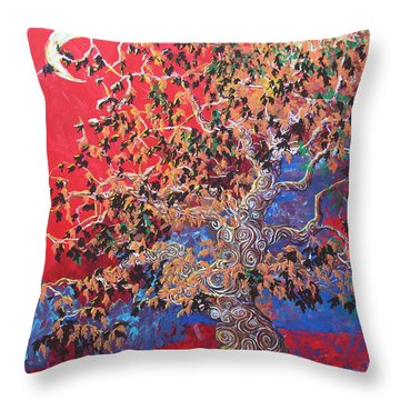 Red Sky And Tree Throw Pillow
