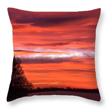Red Sky At Morning Pano Throw Pillow by James Barber