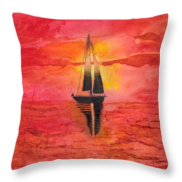 Red Sky At Night Sailors Delight Watercolor Throw Pillow