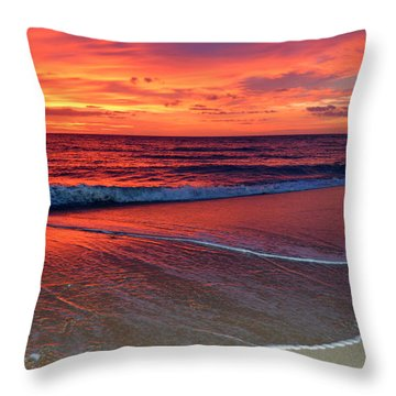Red Sky In Morning Throw Pillow by Dianne Cowen
