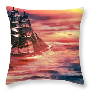 Red Sky In The Morning.... Sailors Take Warning Throw Pillow by Gray  Artus