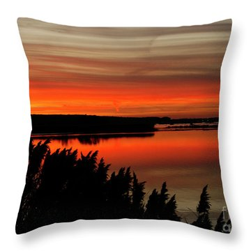Red Sky On The Illinois River Throw Pillow