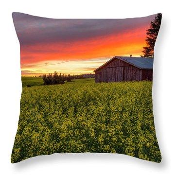 Red Sky Over Canola Throw Pillow