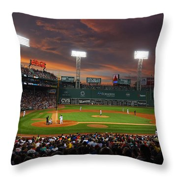 Red Sky Over Fenway Park Throw Pillow