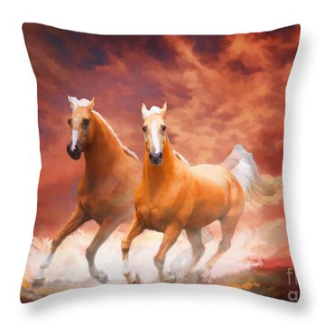 Throw Pillow featuring the painting Red Sky Run by Melinda Hughes-Berland