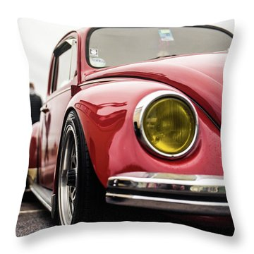 Throw Pillow featuring the photograph Red Slammed Vw Beetle by Will Gudgeon