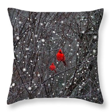 Red Snow Throw Pillow by Bill Stephens