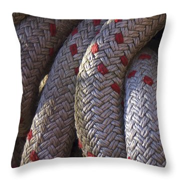 Red Speckled Rope Throw Pillow by Henri Irizarri