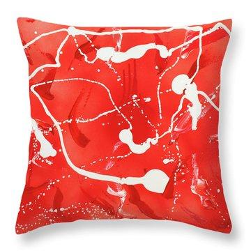 Red Spill Throw Pillow